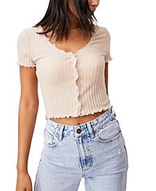 Women's Avery Shorts Sleeve Frill Cardigan