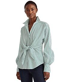 Petite Stripe Puffed Sleeve Tie-Front Top