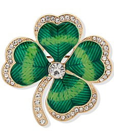 Gold-Tone Crystal Four-Leaf Clover Pin