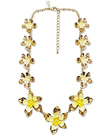"INC Gold-Tone Yellow Flower All Around Necklace, 18"" + 3"" extender"