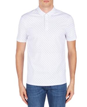 Men's Dotted Grid-Print Mesh Polo Shirt