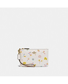 Small Leather Wristlet With Watercolor Floral Print