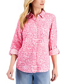 Paisley-Print Roll-Tab Button-Down Shirt, Created for Macy's