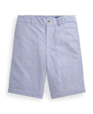 폴로 랄프로렌 Polo Ralph Lauren Big Boys Slim Fit Stretch Cotton Seersucker Short,White/provincetown Blue