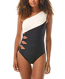 Colorblocked One-Shoulder One-Piece Swimsuit