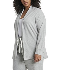 Women's Plus Size Long Sleeve Cozy Cardigan with Side Buttons