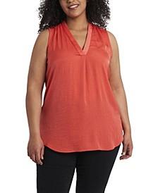 Women's Plus Size V-Neck Sleeveless Blouse
