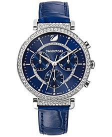 Women's Swiss Chronograph Passage Blue Crocodile Leather Strap Watch 35mm