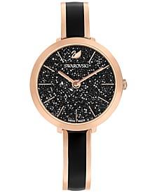 Women's Swiss Crystalline Delight Rose Gold-Tone & Black PVD Stainless Steel Bangle Bracelet Watch 32mm