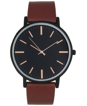 INC INTERNATIONAL CONCEPTS INC MEN'S BROWN IMITATION LEATHER STRAP WATCH 42MM, CREATED FOR MACY'S