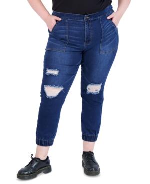 Trendy Plus Size Destructed High-Rise Jogger Jeans