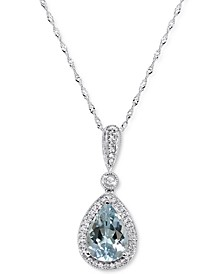 "Aquamarine (1-1/2 ct. t.w.) & Diamond (1/10 ct. t.w.) 18"" Pendant Necklace in 14k White Gold"
