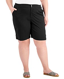 Plus Size Button-Tab-Hem Shorts, Created for Macy's