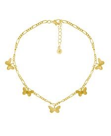 Multi Textured Butterfly Anklet on Figaro Chain in Gold Plate