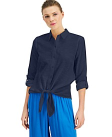 INC Tie-Front Button-Up Shirt, Created for Macy's