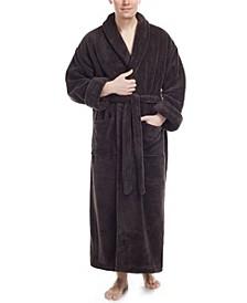 Men's Shawl Collar Full Ankle Length Fleece Bathrobe