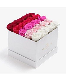 Square Box of 25 Pink Ombre Real Roses Preserved To Last Over A Year
