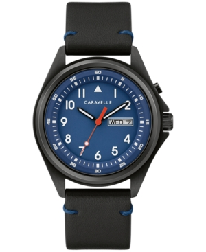 Men's Traditional Black Leather Strap Watch 40mm