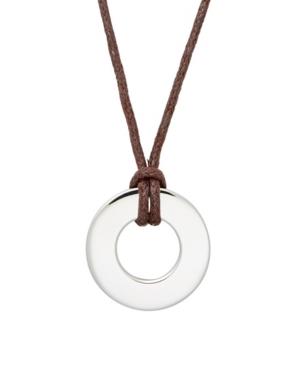 Men's Brown Cord Circle Pendant Necklace
