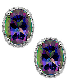 14k White Gold Mystic Topaz (4 ct. t.w.) and Diamond (1/6 ct. t.w.) Stud Earrings