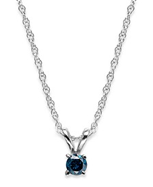 10k White Gold Blue Diamond Pendant Necklace (1/10 ct. t.w.)