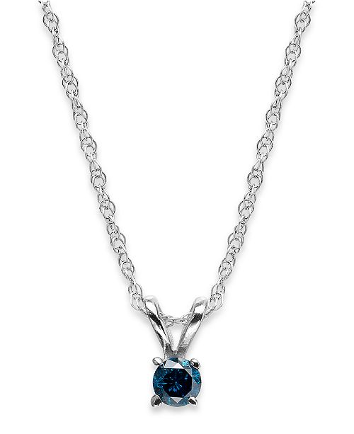 Macy's 10k White Gold Blue Diamond Pendant Necklace (1/10 ct. t.w.)
