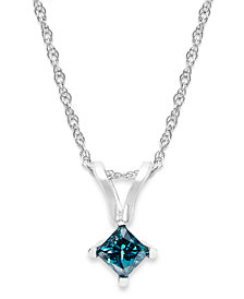 10k White Gold Blue Diamond Pendant Necklace (1/5 ct. t.w.)
