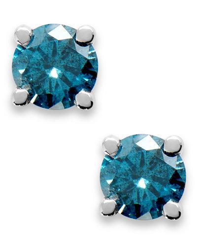 10k White Gold Blue Diamond Round Stud Earrings (1/4 ct. t.w.)