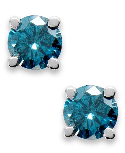 Macy's 10k White Gold Blue Diamond Round Stud Earrings (1/4 ct. t.w.)