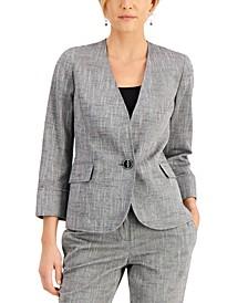 Single-Button 3/4-Sleeve Blazer