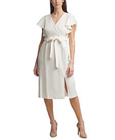 Petite Flutter-Sleeve Midi Dress