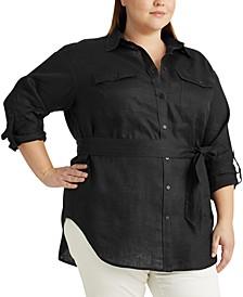Plus Size Buttoned Linen Top