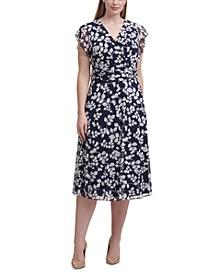 Plus Size Puff-Print A-Line Dress