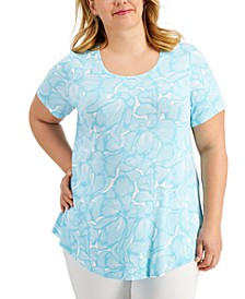 Plus Size Printed Scoop-Neck Top, Created for Macy's