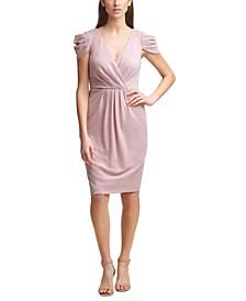 Surplice Glitter Sheath Dress