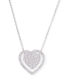 """Cubic Zirconia Double Heart Necklace 18"""" in Fine Silver Plate"""