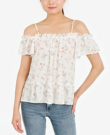 Juniors' Printed Cold-Shoulder Peplum Top