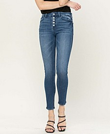 Women's High Rise Button Up Skinny Jeans