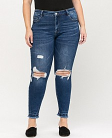 Women's Plus Size Mid Rise Distressed Released Frayed Hem Ankle Skinny Jeans