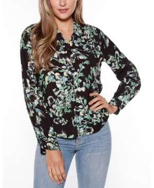 Black Label Floral Print Collared Button Up Shirt