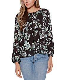 Black Label Floral Long Blouson Sleeve Scoop Neck Top