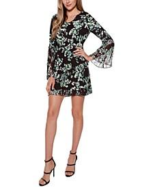 Black Label Floral V-Neck Pleated Dress