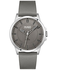 Men's #First Gray Leather Strap Watch 43mm