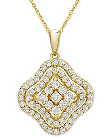 """Diamond Wavy Cluster 18"""" Pendant Necklace (1 ct. t.w.) in 14k Gold or 14k White Gold"""