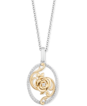 Diamond Belle 30th Anniversary Rose Pendant Necklace (1/6 ct. t.w.) in Sterling Silver & 14k Gold