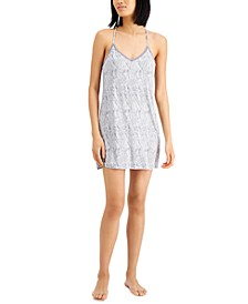 Lace-Back Printed Knit Chemise Nightgown, Created for Macy's