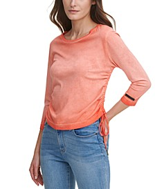 Juniors' Washed Drawstring-Side Top