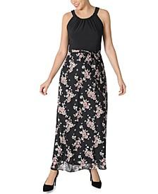 Petite Chiffon Two-Tone Maxi Dress
