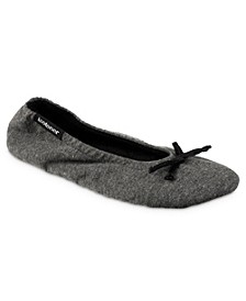 Women's Heather Jersey Ballerina with Satin Bow Slippers