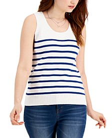 Cotton Striped Sweater-Knit Tank, Created for Macy's